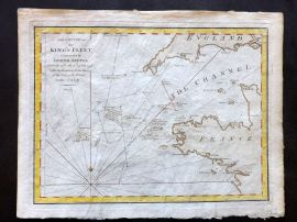 Cary 1801 Hand Col Map. Cruise of the King's Fleet, 1778. English Channel